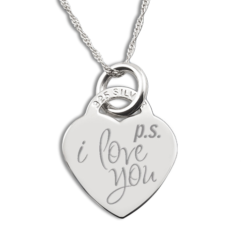 Ps. I Love You Sterling Silver Heart Necklace/Pendant (can be personalised)