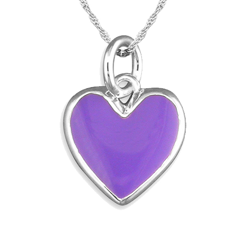 Purple Heart Enamel & Sterling Silver Necklace by Pippa
