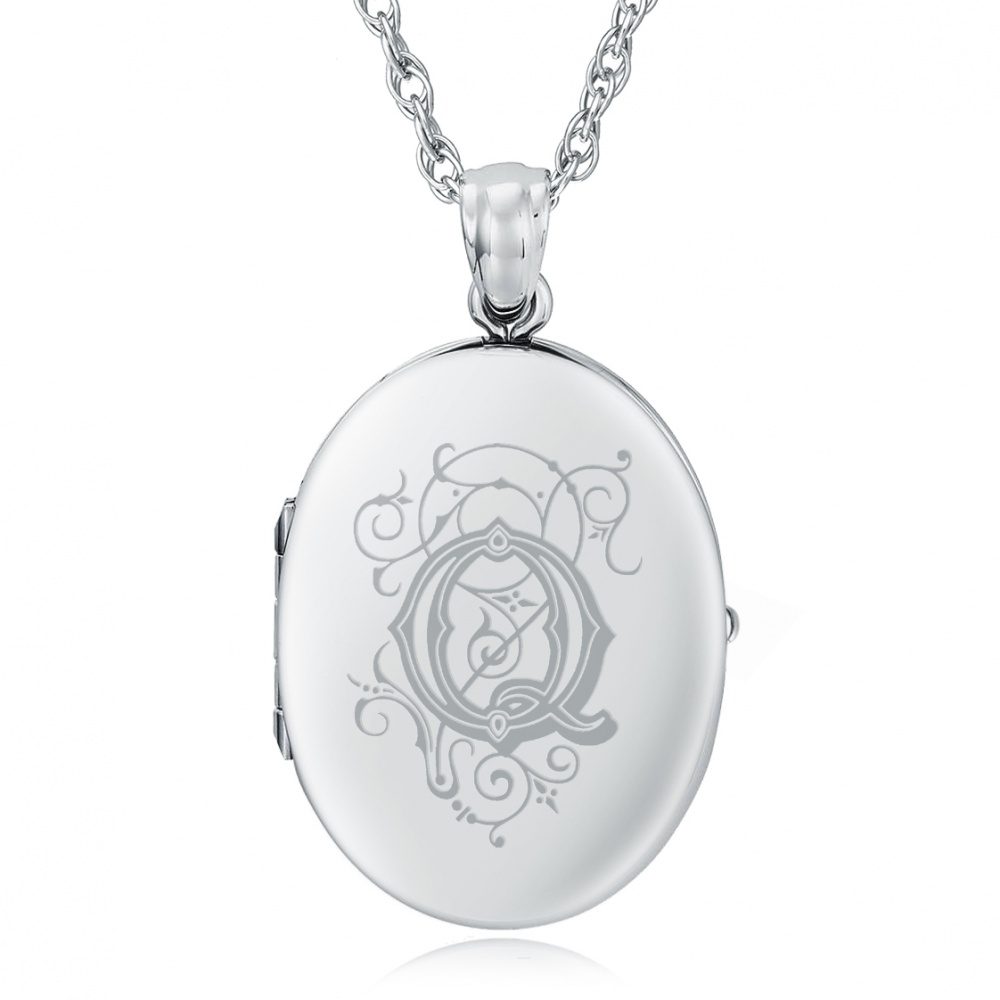 Initial/Letter Q Sterling Silver 2 Photo Locket (can be personalised)