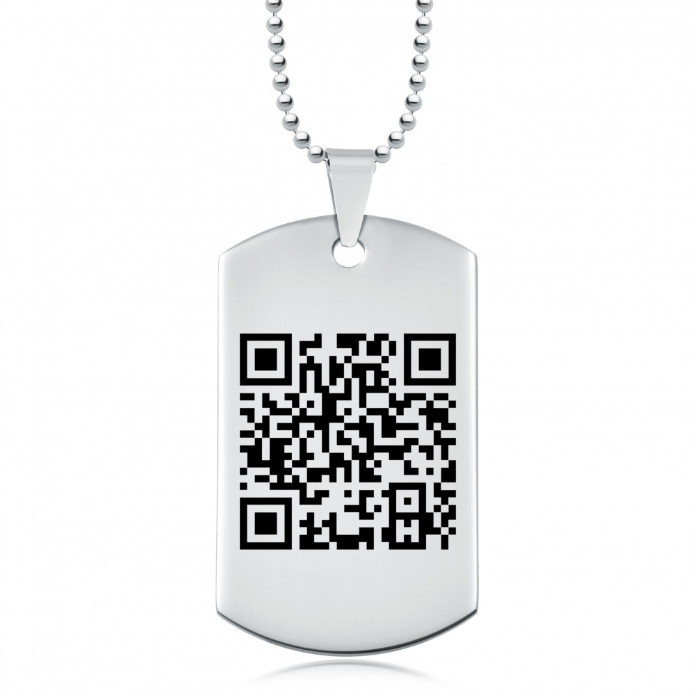 QR Code Dog Tag, Stainless Steel, Personalised