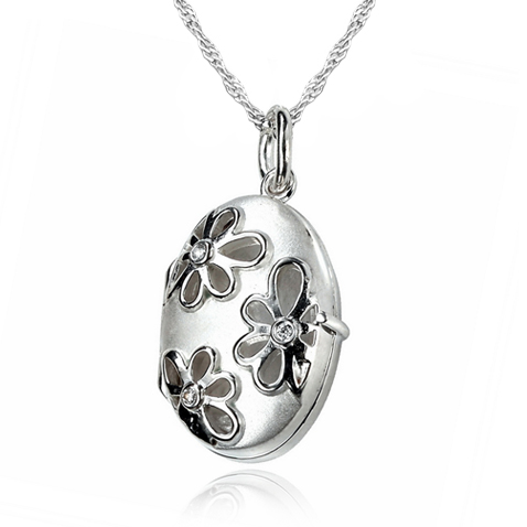 Raised Flower Locket, Cubic Zirconia & Sterling Silver (can be personalised)