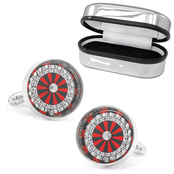 Roulette Wheel Cufflinks, Real Working with Chrome Box (can be personalised)