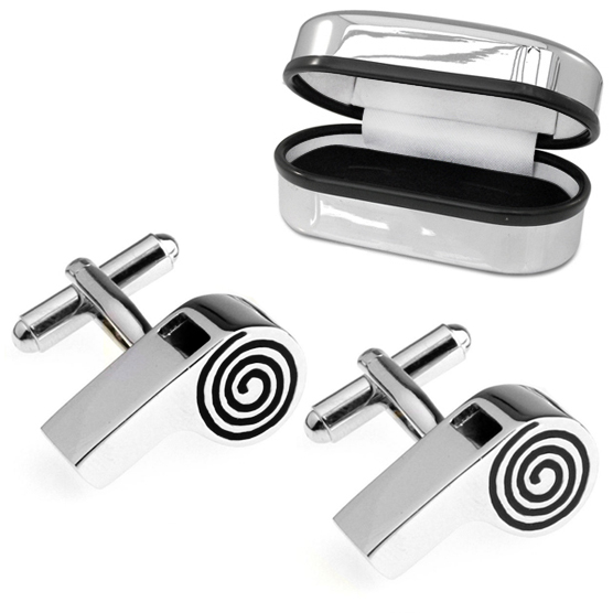 Real Working Whistle Cufflinks with Chrome Box (can be personalised)