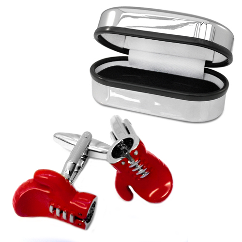 Red Boxing Glove Cufflinks with Chrome Box (can be personalised)