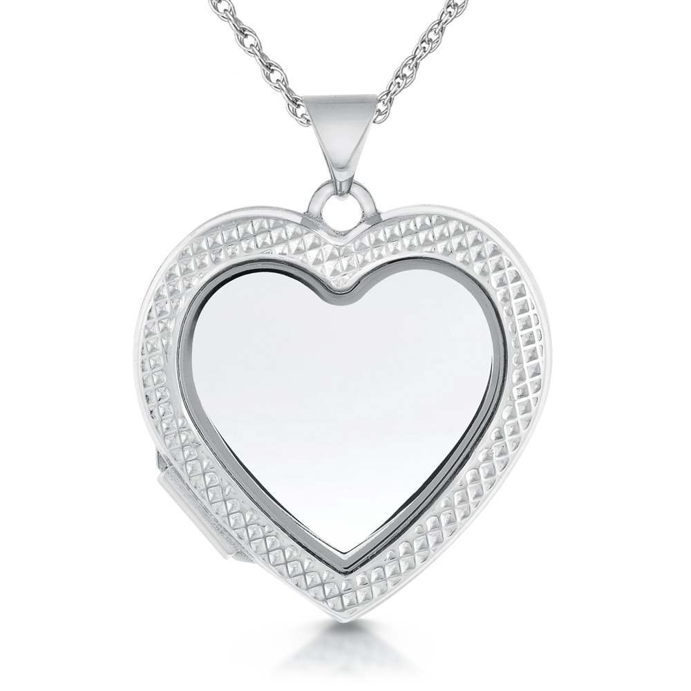 Ribbed Edge Window Locket, Ideal for Lock of Hair, 925 Sterling Silver