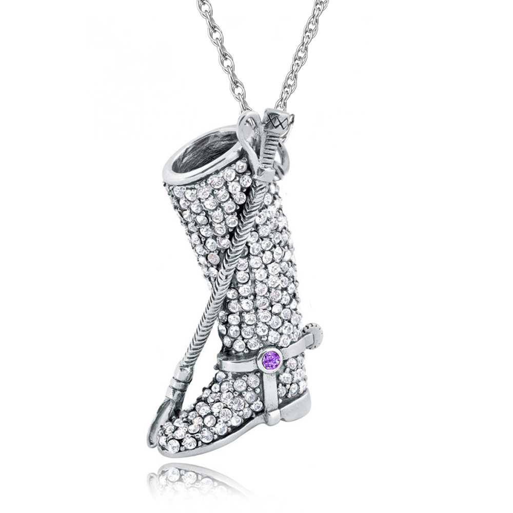 Riding Boot & Crop Necklace, 925 Sterling Silver, Crystal & Amethyst