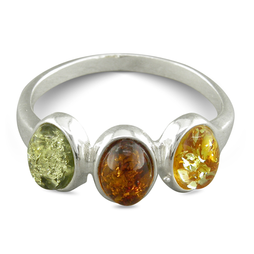 Triple Multi-Coloured Amber Ring Sterling Silver