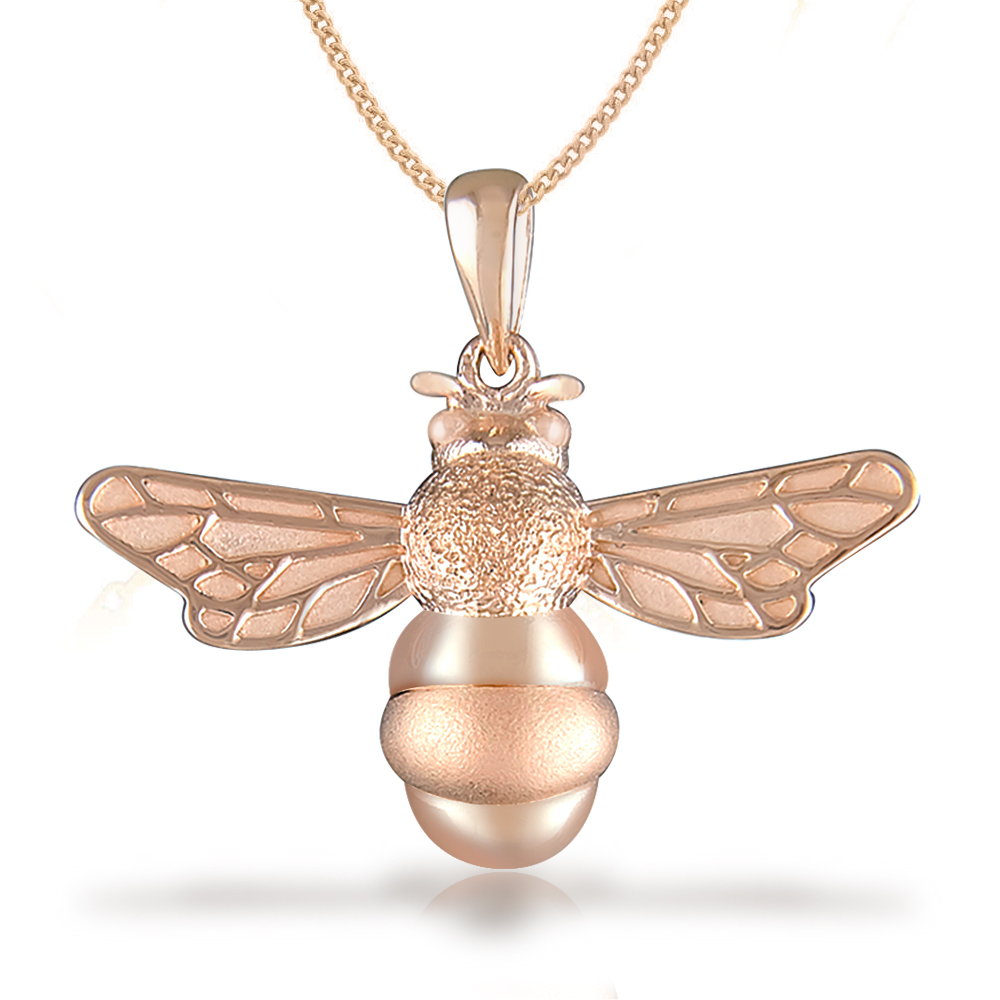 Bumble Bee Necklace, Rose Gold Plated