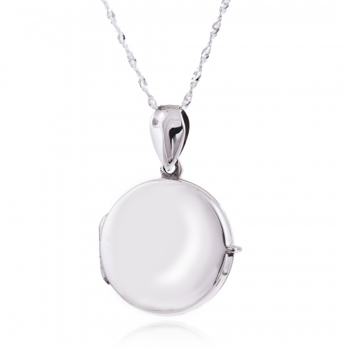 Round Medium Sterling Silver Locket Necklace (can be personalised)