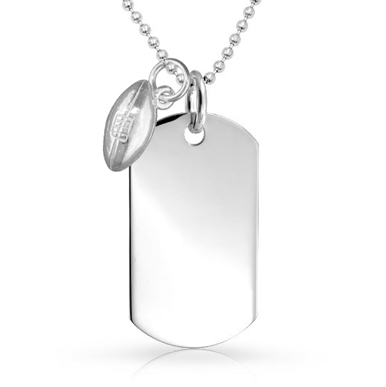Rugby Ball Dog Tag, 925 Sterling Silver (can be personalised)