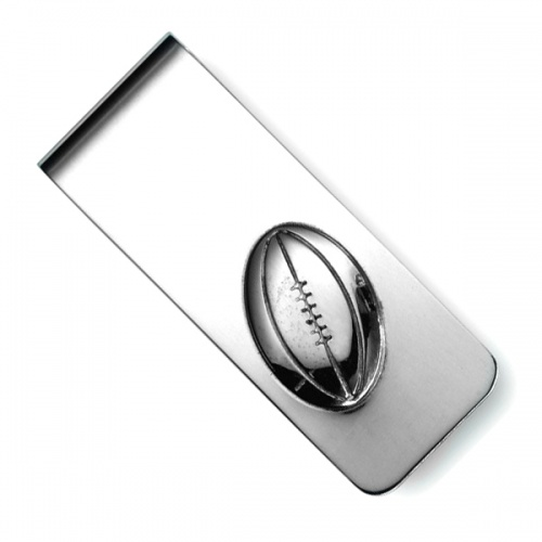 Rugby Ball Sterling Silver Hallmarked Money Clip (can be personalised)