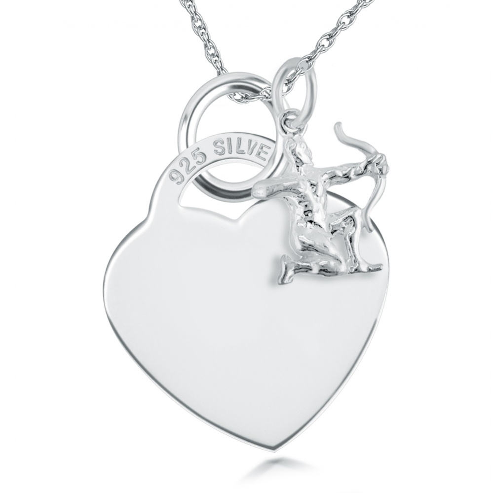 Zodiac Sagittarius Star Sign & Heart Sterling Silver Necklace (can be personalised)