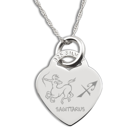 Sagittarius Star Sign Heart Shaped Sterling Silver Necklace (can be personalised)