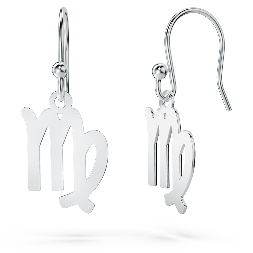 Scorpio Zodiac Sign Drop Earrings, Sterling Silver