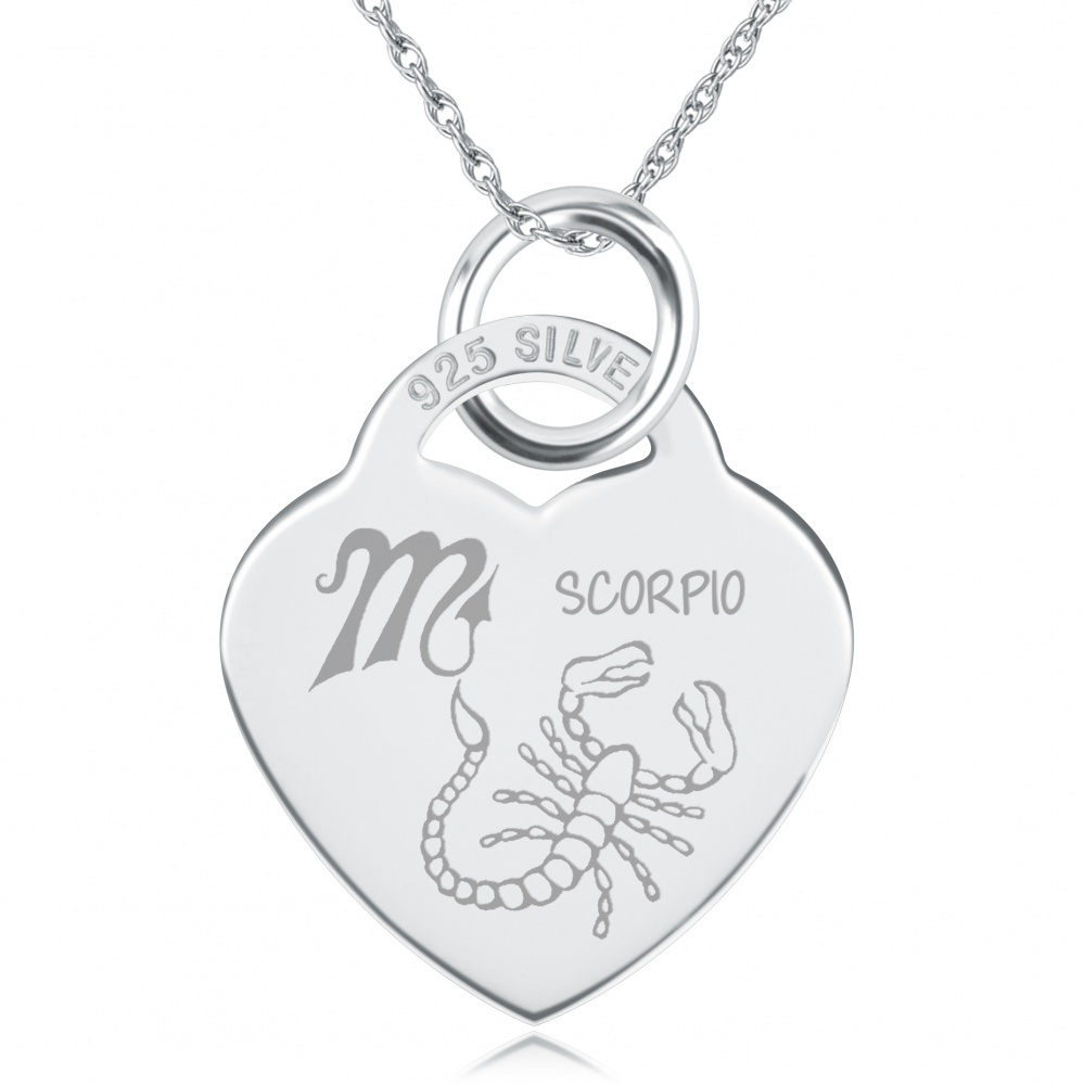 Scorpio Star Sign Heart Shaped Sterling Silver Necklace (can be personalised)
