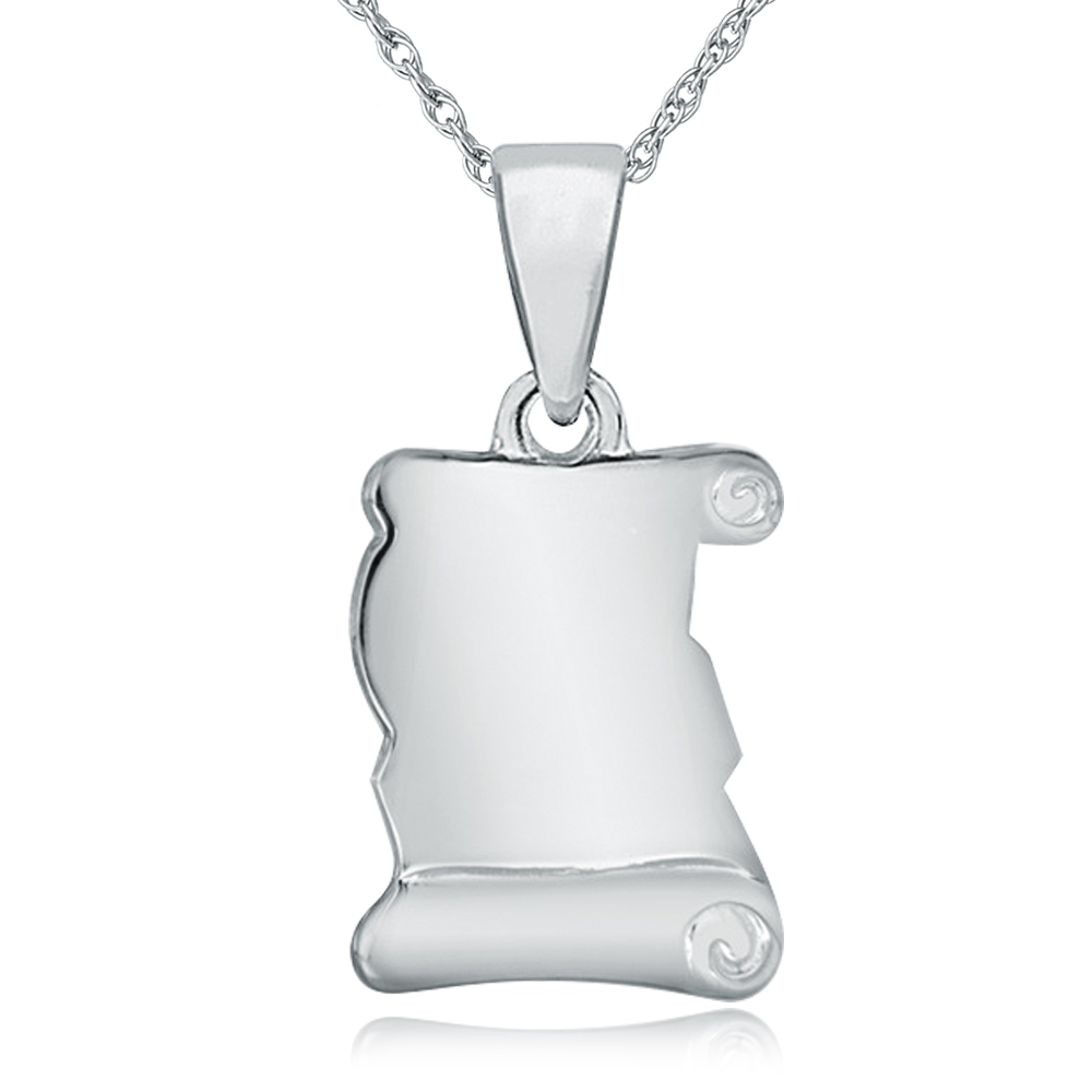 Scroll Shaped Necklace, Personalised / Engraved, 925 Sterling Silver