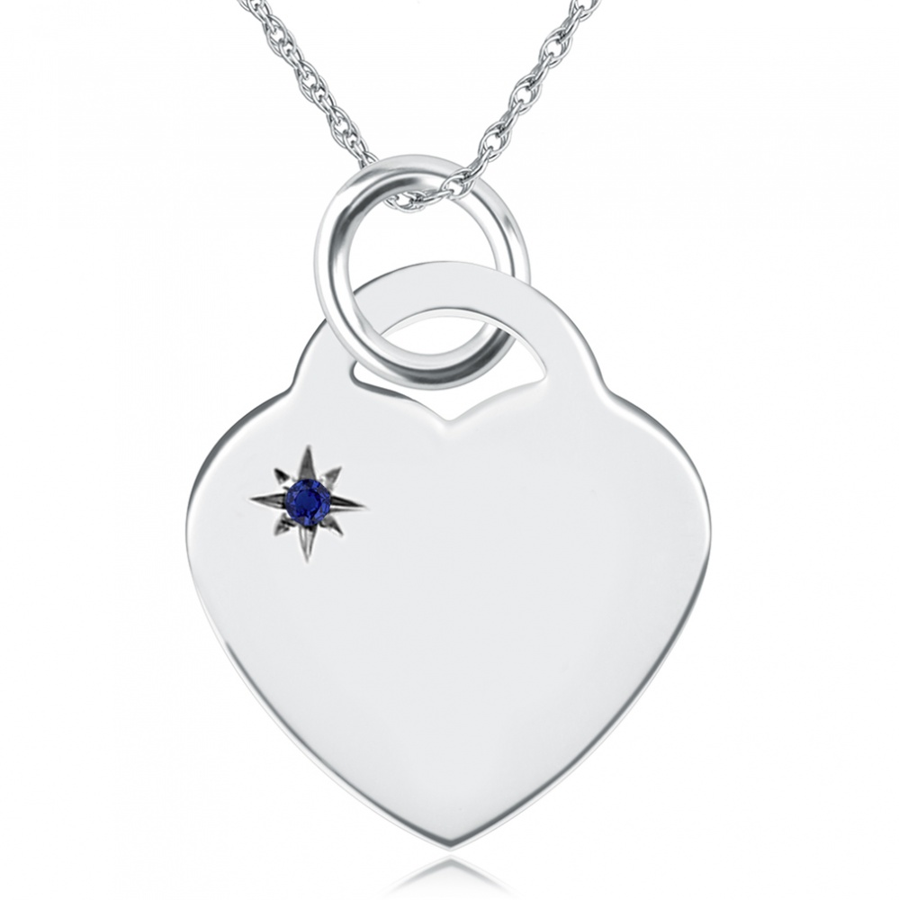 September Birthstone Heart Necklace, Personalised Engraving, Sterling Silver, Sapphire