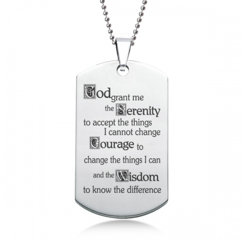 Serenity Prayer Dog Tag, Personalised / Engraved, Stainless Steel