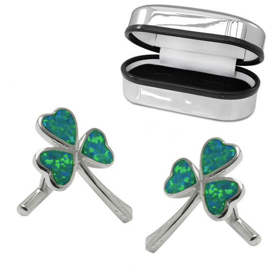Shamrock Cufflinks, Green Opal & Sterling Silver (Engraving Available)
