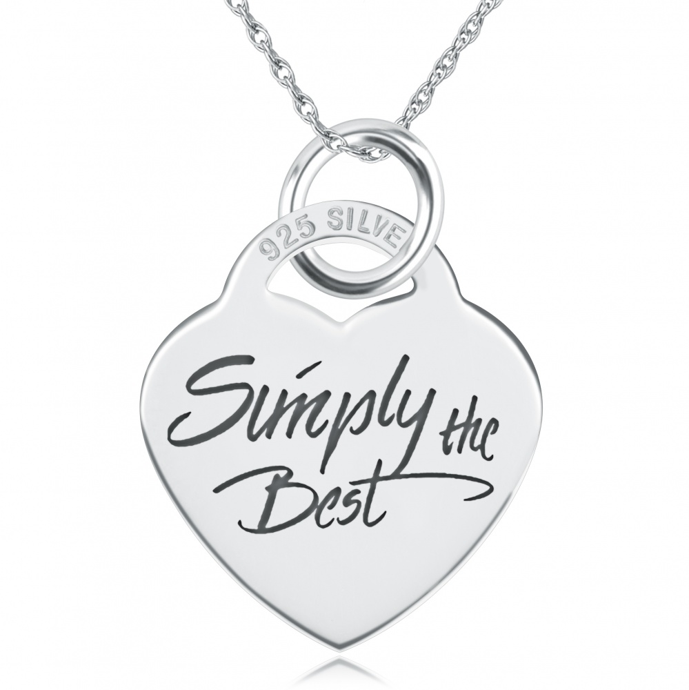 Simply the Best Heart Necklace/Pendant - 925 Sterling Silver Personalised