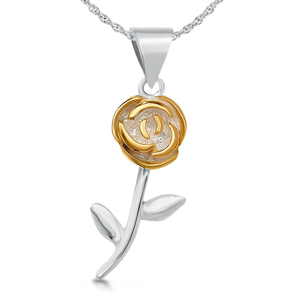 Single Rose Necklace, Sterling Silver with Yellow Gold Vermeil