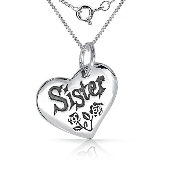 Sister, with Flowers Heart Shaped Sterling Silver Necklace (can be personalised)