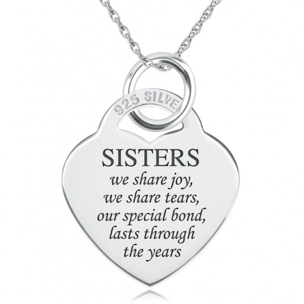 Sisters We Share Joy Necklace, Personalised, Sterling Silver, Heart Shaped