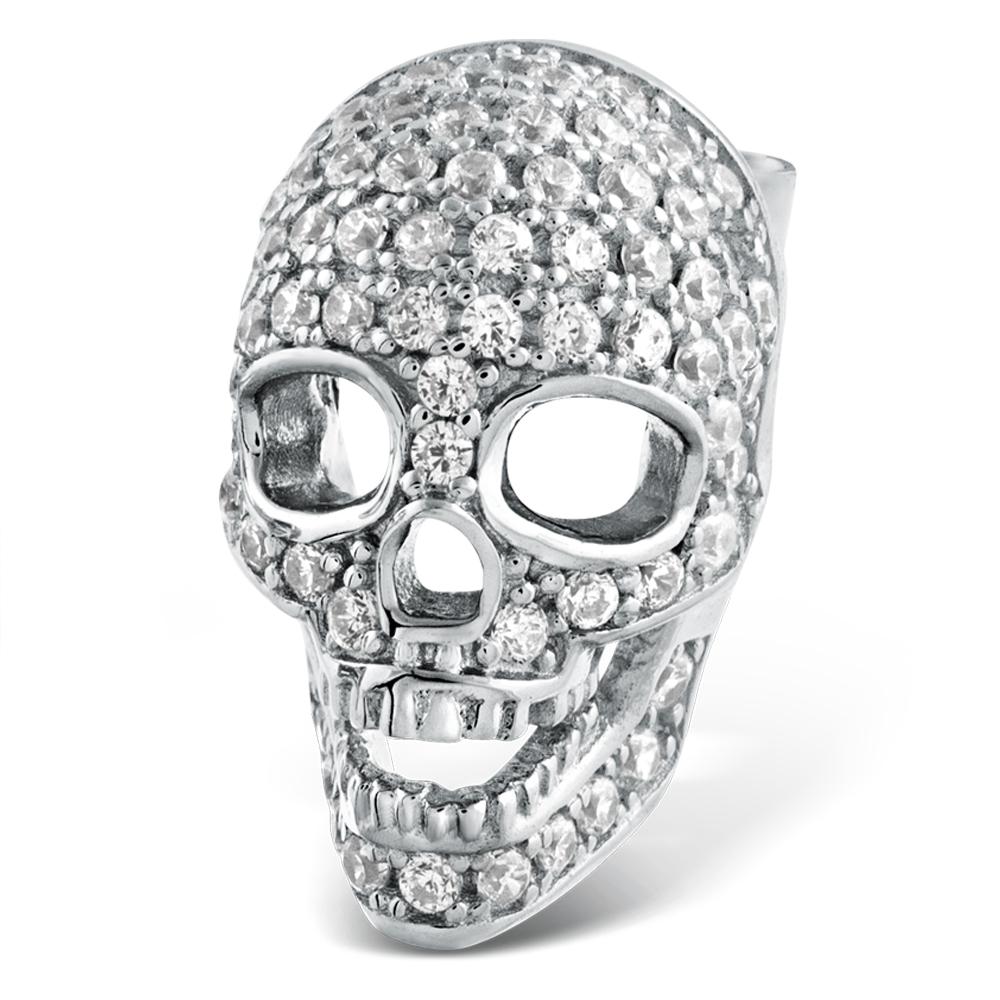 cf2143efd Mens Skull Earring, Sterling Silver & Cubic Zirconia