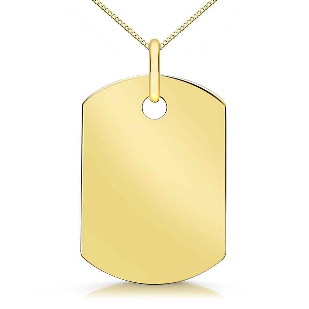 Small 9ct Gold Dog Tag & Chain, Personalised / Engraved