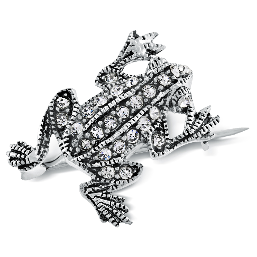 Small Frog Brooch, Cubic Zirconia & Sterling Silver
