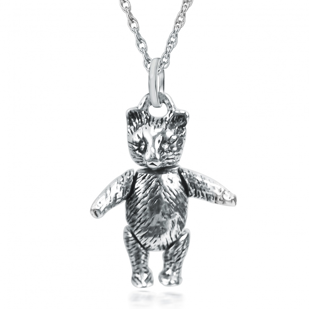 Textured Movable Teddy Bear Necklace, with Moving Arms & Legs Sterling Silver
