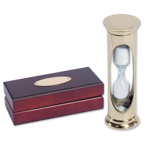 Solid Brass Egg Timer with Wooden Gift Box (can be personalised)