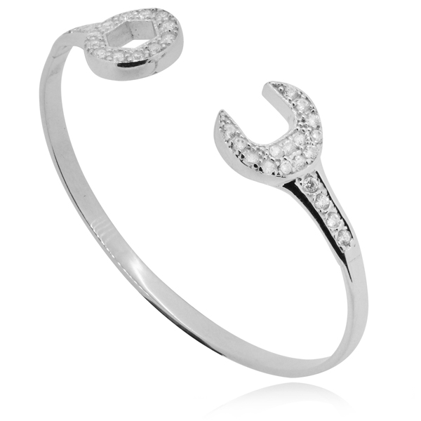 Spanner Babies Bangle, CZ & Sterling Silver