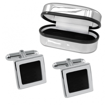 Square Onyx & Sterling Silver Cufflinks (can be personalised)