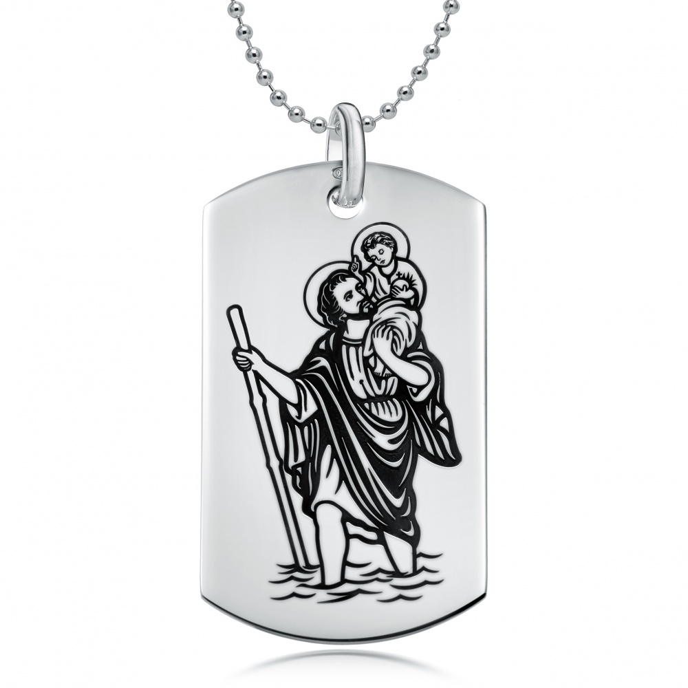 St Christopher Dog Tag, Personalised / Engraved, 925 Sterling Silver by Gioiello