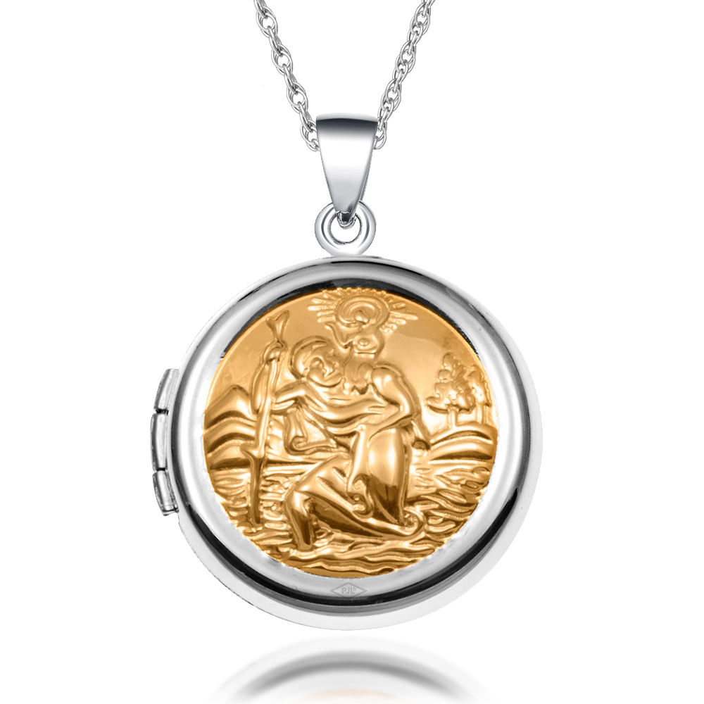 St Christopher Locket Necklace, 925 Sterling Silver (can be personalised)