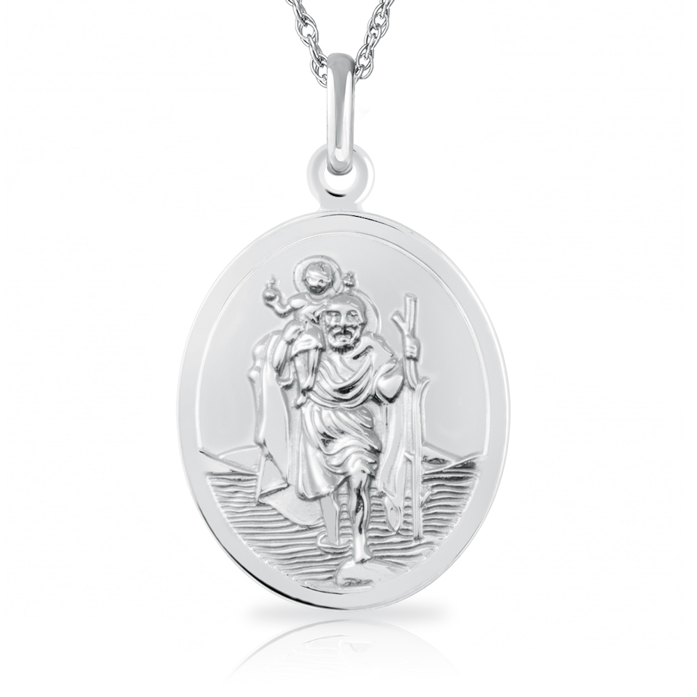 St Christopher Necklace, Personalised, Sterling Silver, Oval