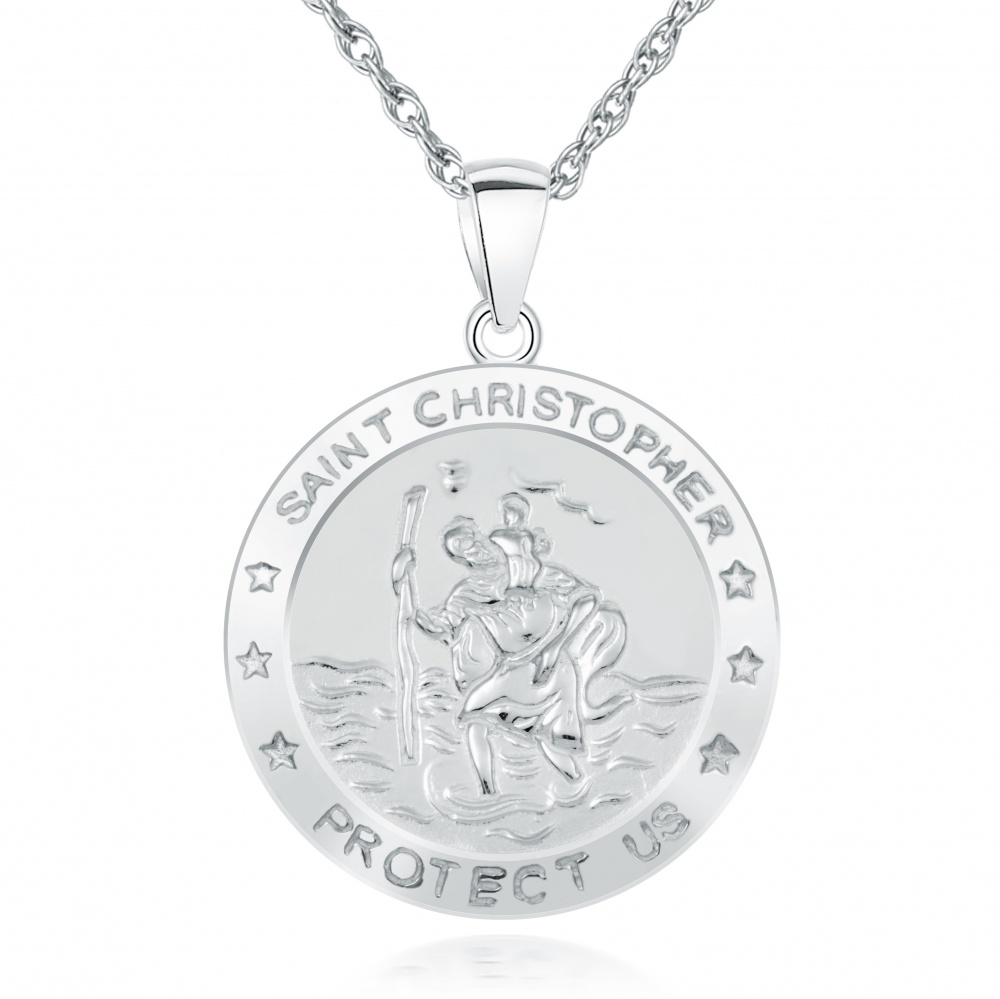 0753b8992d3 St Christopher Protect Us Pendant Personalised, Sterling Silver