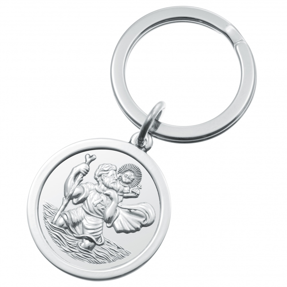 St Christopher Sterling Silver Keyring, Hallmarked (can be personalised)
