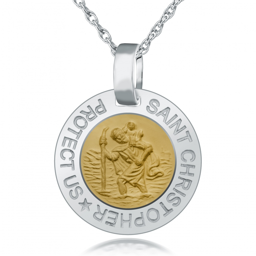 St Christopher Two-Tone Necklace, 925 Sterling Silver (Engraving Available)