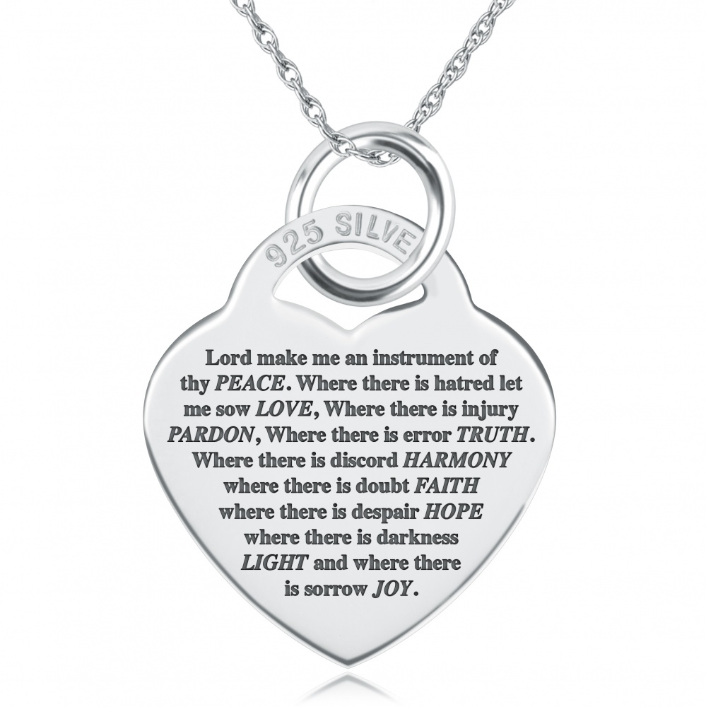 St Francis Prayer Necklace, Personalised, 925 Sterling Silver