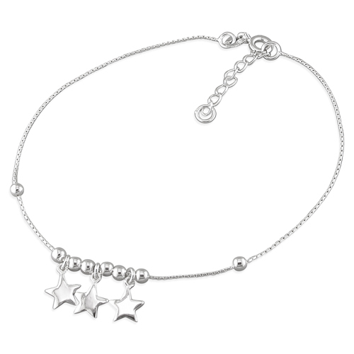 Stars & Beads Sterling Silver Anklet