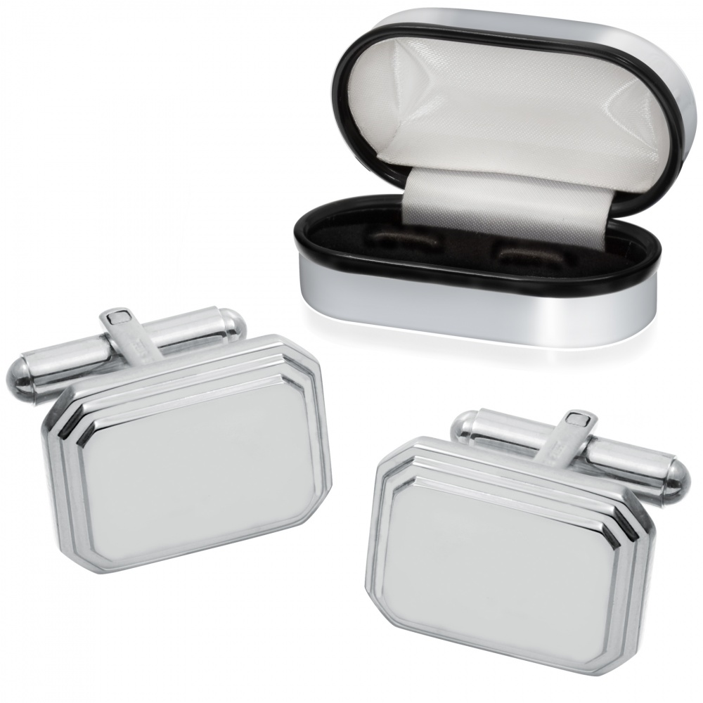 Stepped Edge Cufflinks, Personalised, Stainless Steel
