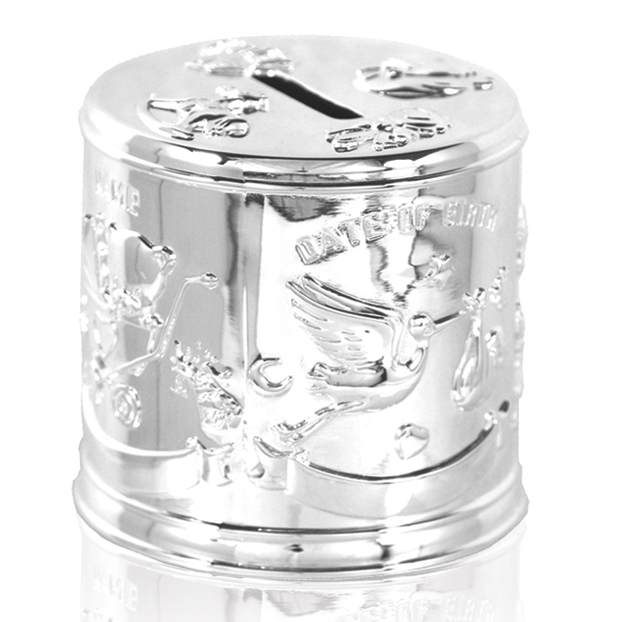 Stork And Baby Money Box Silver Plated