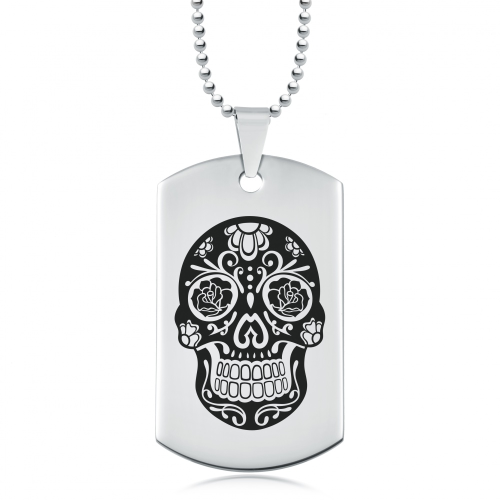 Sugar Skull, Day of the Dead Dog Tag, Stainless Steel Personalised