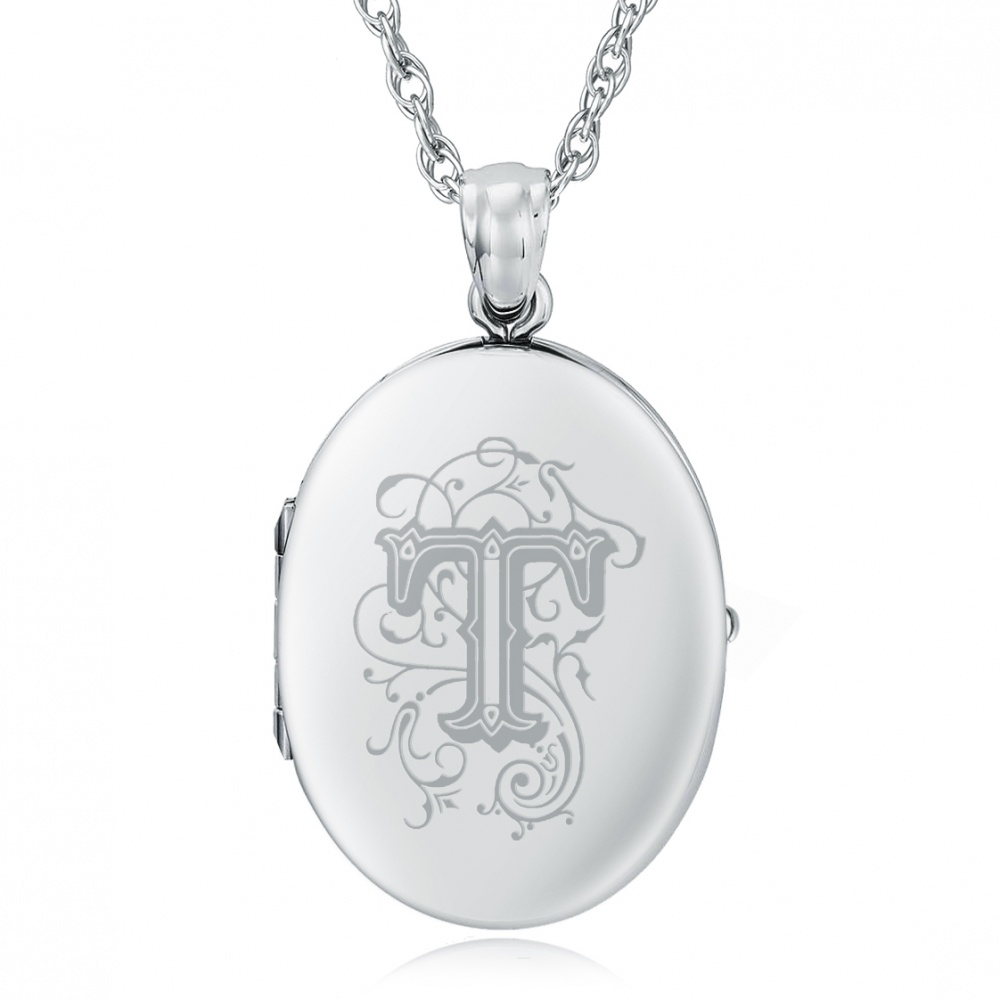 Initial/Letter T Sterling Silver 2 Photo Locket (can be personalised)