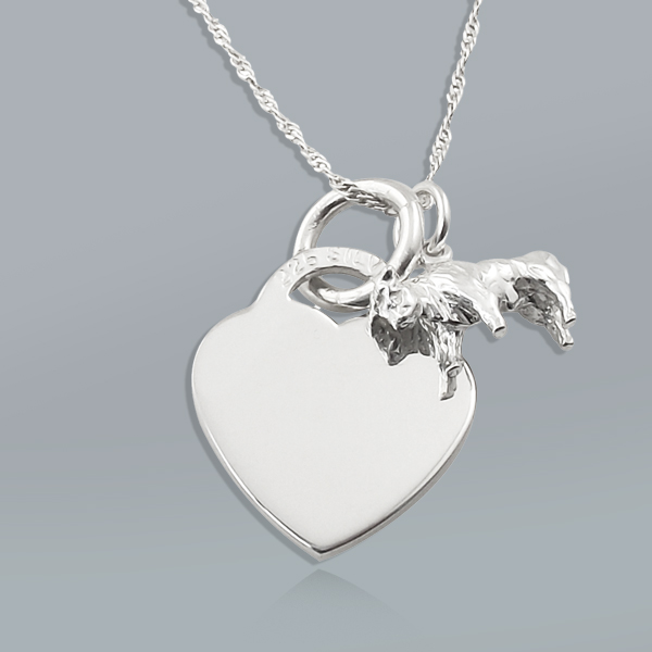 Zodiac Taurus Star Sign & Heart Sterling Silver Necklace (can be personalised)