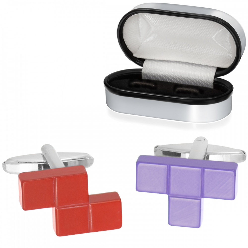 Tetris Tiles/Blocks Cufflinks, Red & Purple (can be personalised)