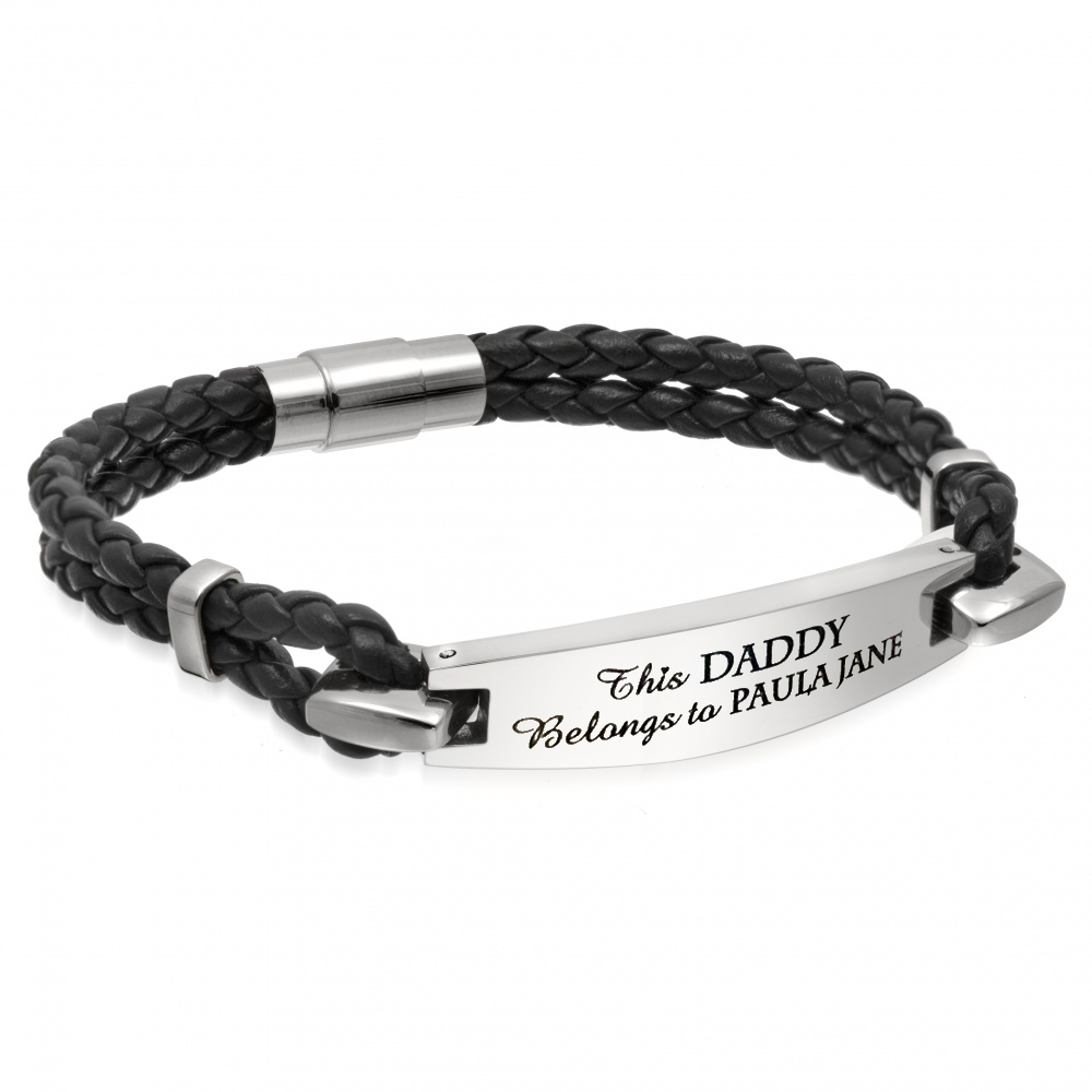 This Daddy Belongs To Bracelet, Personalised, Leather & Stainless Steel