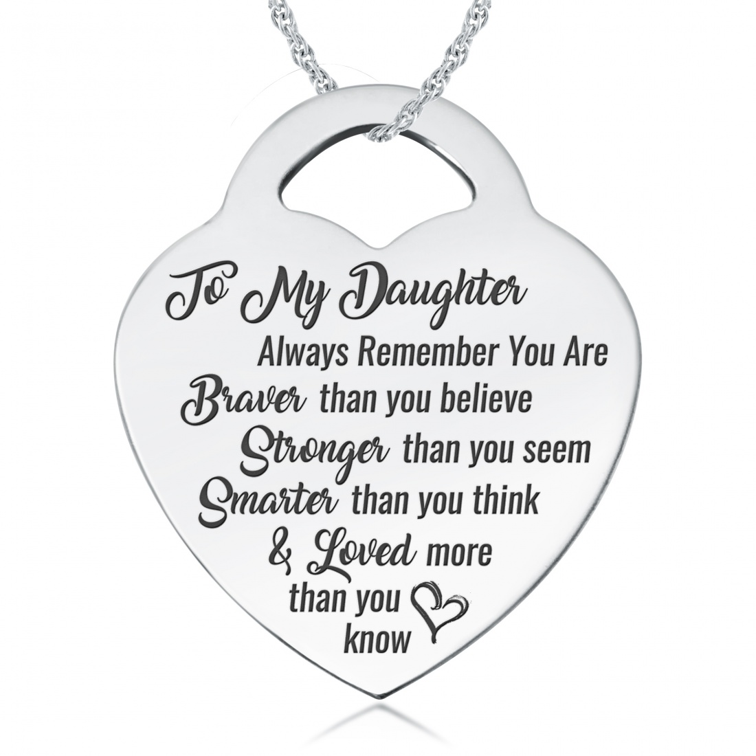 Daughter, You Are Braver, Stronger, Smarter & Loved Necklace, Personalised, Sterling Silver